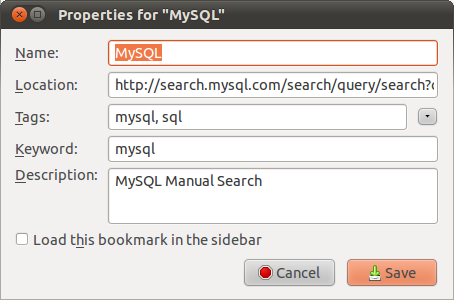 MySQL bookmarkexample