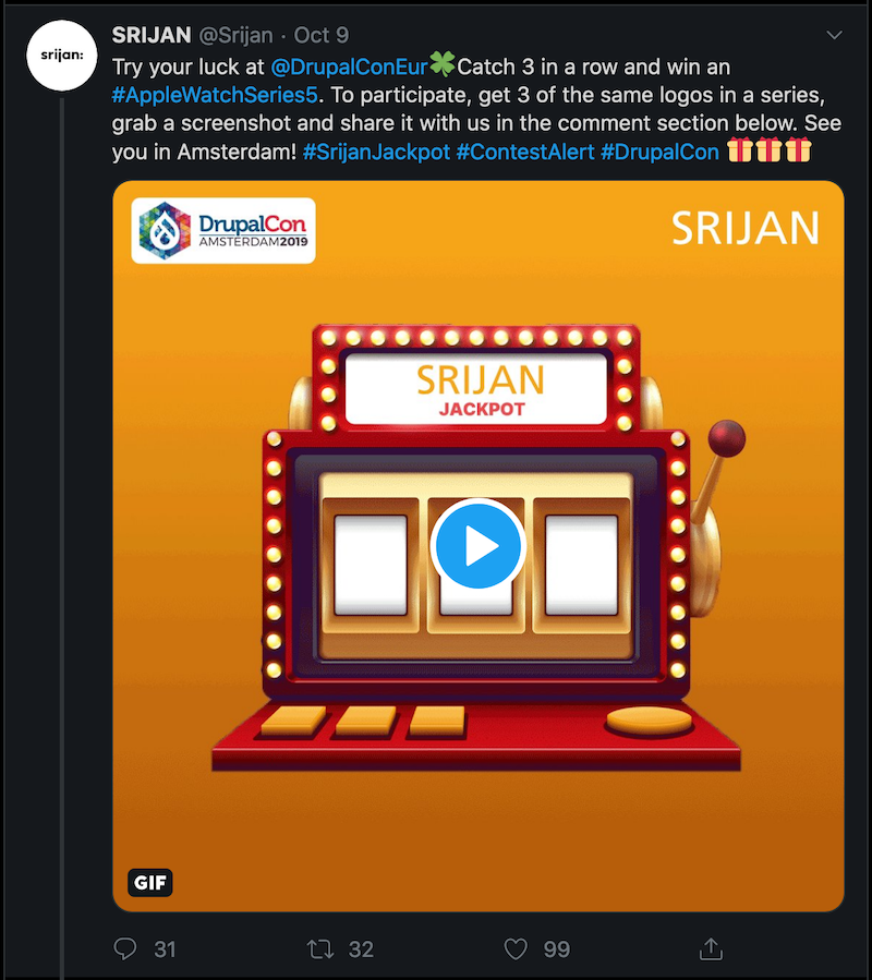 Try your luck at @DrupalConEur Catch 3 in a row and win an#AppleWatchSeries5. To participate, get 3 of the same logos in aseries, grab a screenshot and share it with us in the comment sectionbelow. See you in Amsterdam\! \#SrijanJackpot \#ContestAlert \#DrupalCon