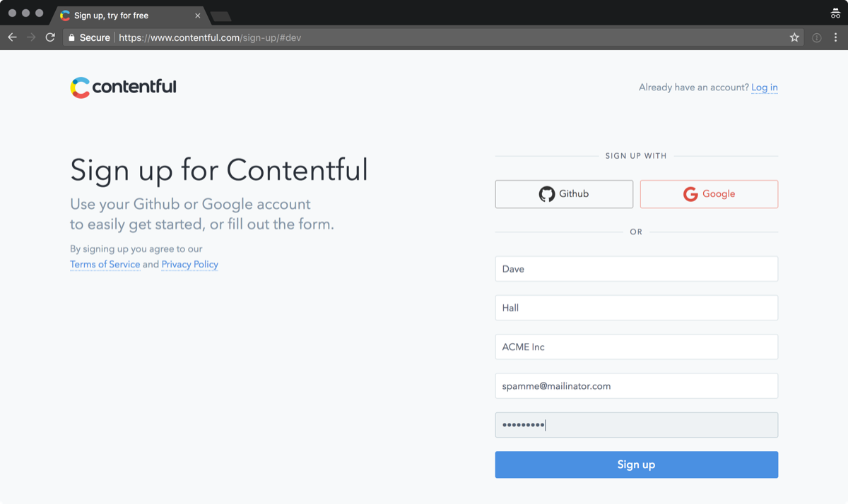 Screenshot: Contentful sign up page